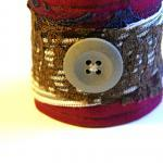Burgundy and Lace Fabric Button Cuf..