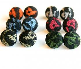 Black Lace Button Covered Earrings - Set of Six