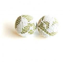 Tan and White Lace Covered Button Earrings