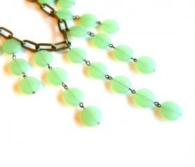 Mint Green Sea Glass Beaded Necklace