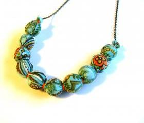 Blue and Orange Fabric Wrapped Necklace