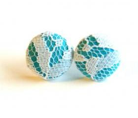 Light Blue and White Lace Stud Earrings - Medium