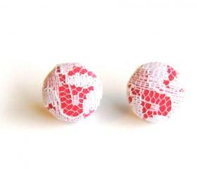 Pink and White Lace Stud Earrings