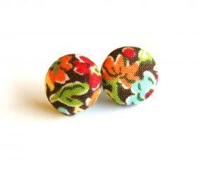Colorful Flower Fabric Studs