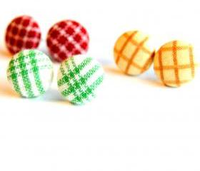 Plaid Fabric Stud Earrings - Set of Three