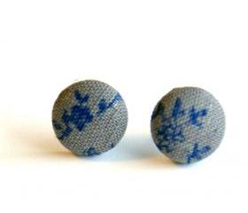 Royal Blue and Gray Fabric Stud Earrings