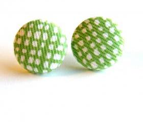 Spring Green Fabric Button Stud Earrings