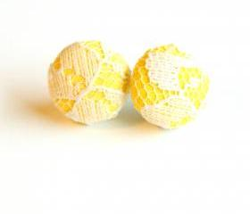 Yellow and White Lace Fabric Stud Earrings - Medium