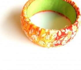 Orange Mixed Fabric Bangle Bracelet