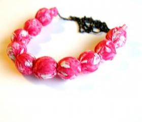 Pretty in Pink Fabric Beaded Necklace