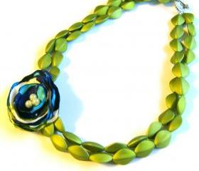 Lime Green Fabric Flower Beaded Necklace