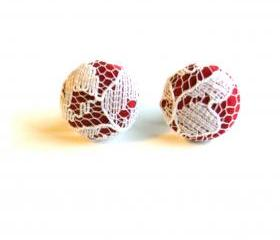 Cranberry and White Lace Fabric Button Stud Earrings
