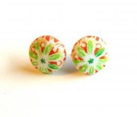 Burnt Red and Green Flower Fabric Button Earrings
