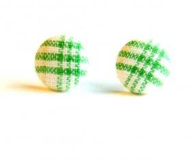 Green and White Plaid Button Earrings