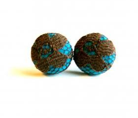 Teal and Brown Lace Button Earrings