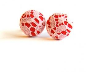 Red and Ivory Lace Fabric Button Earrings