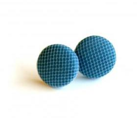 Blue and White Tulle Fabric Button Earrings