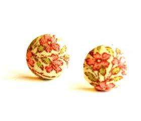 Pink Flower Fabric Covered Button Earrings