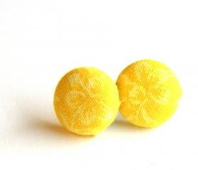 Yellow with Pale Yellow Flowers Button Earrings