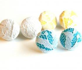 Spring Fabric Covered Button Earring Set