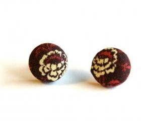 Red Wine Fabric Covered Button Earrings