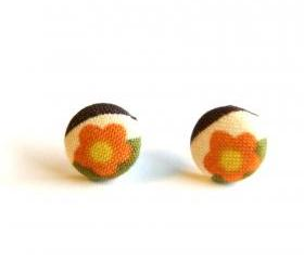 Orange and Yellow Flower Button Earrings