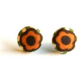 Flower with Green Stripes Button Earrings