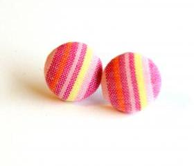 Pink and Yellow Plaid Fabric Button Earrings