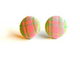 Pink with Green Stripes Fabric Button Earrings