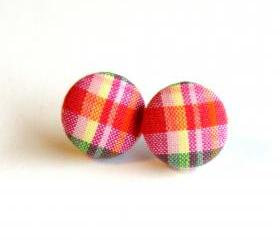 Orange Mixed Plaid Button Earrings