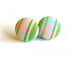 Light Pink Plaid fabric Button Earrings