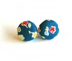 Blue with Flowers Fabric Button Earrings