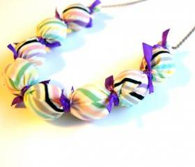 Purple Ribbon Candy Necklace