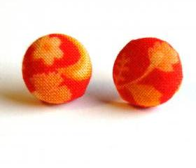Orange and Red Fabric Button Earrings