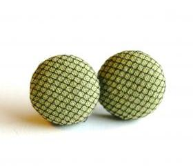 Light Green and Black Tulle Button Earrings