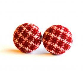 Dark Red Stripe Button Earrings