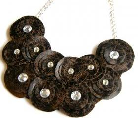 Chocolate Brown Faux Leather Bib Necklace