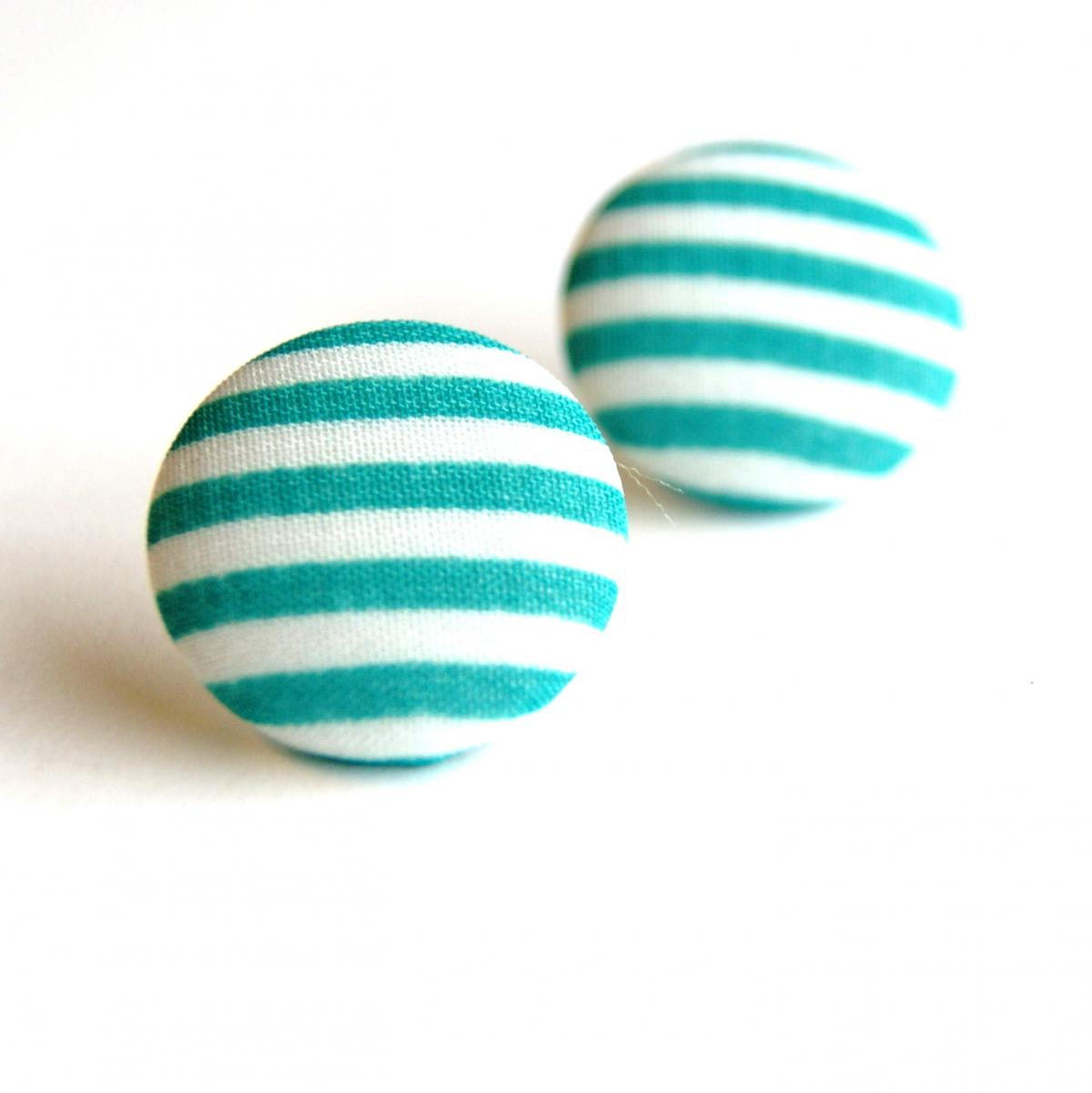 Green and White Stripes Fabric Button Earrings - Large