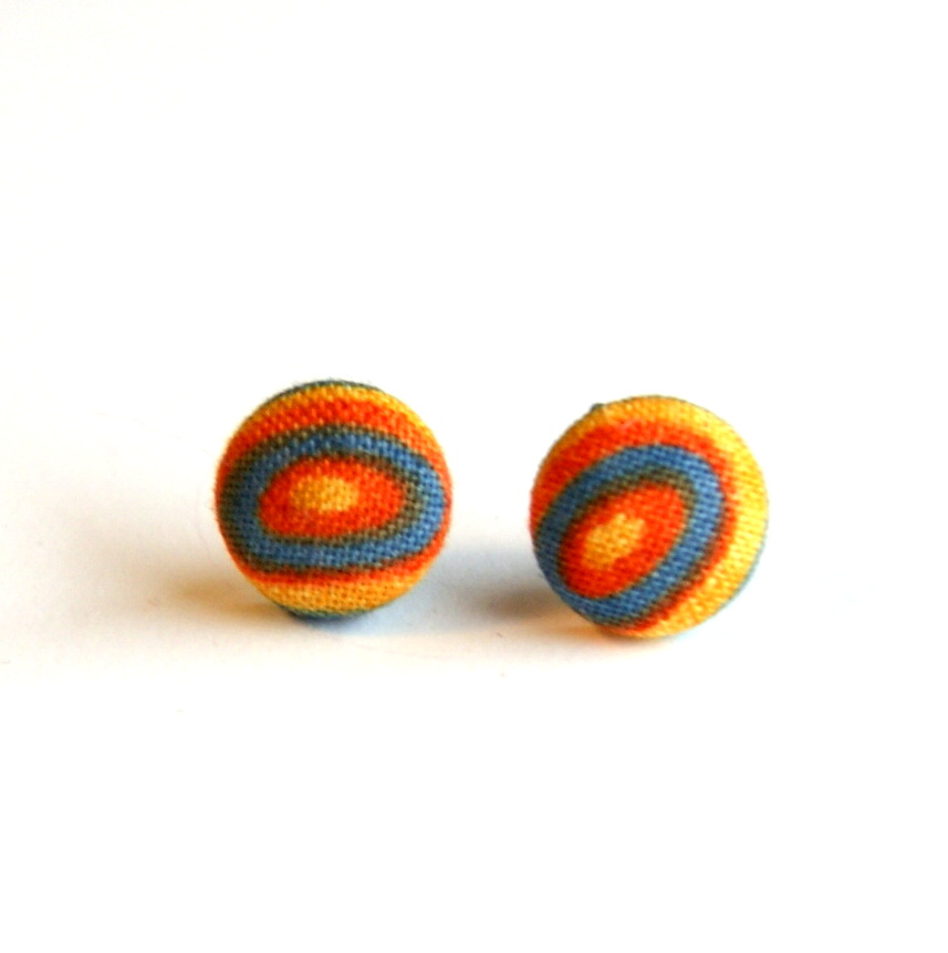 Fabric Circle Stud Earrings - Small