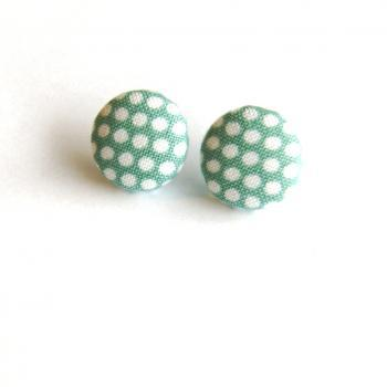Steel Blue and White Polka Dot Earrings