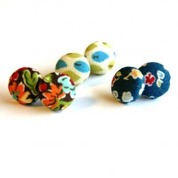 Colorful Flower and Leaf Fabric Button Studs - Set of Three