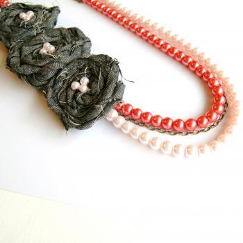 Pink Pearls with Chain and Fabric Rosettes