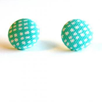Robin Egg Blue Fabric Button Stud Earrings