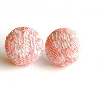 White and Pink Lace Fabric Button Stud Earrings