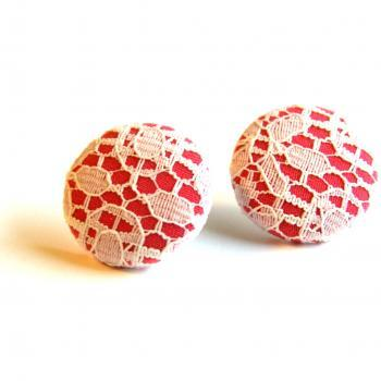 Pink and White Lace Button Stud Earrings - Large