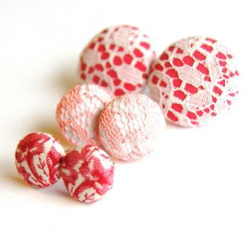 Pretty In Pink Fabric Button Stud Earrings Set
