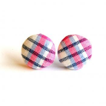 Blue, Pink and White Plaid Button Earrings - Medium