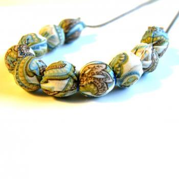 Ivory and Blue Paisley Fabric Wrapped Necklace