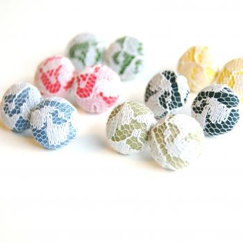 Fabric and Lace Stud Earrings Set - Make Your Own