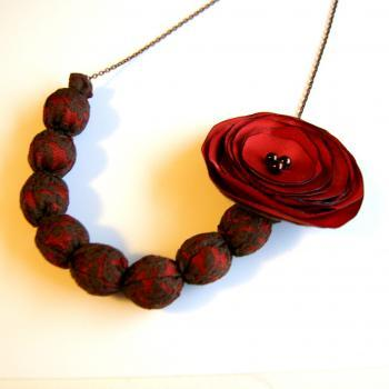 Auburn and Brown Lace Necklace with Removable Flower